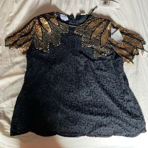 Tops - NWT Black and gold vintage beaded top